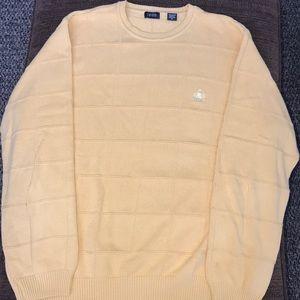 Izod 100% cotton block knit sweater. Yellow